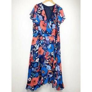 Lane Bryant Wrap Dress Maxi Asymmetric 26